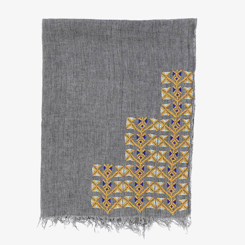Samira Linen Scarf in Grey, Crafted by Syrian Refugees, Hand-embroidered Accessory, SEP Jordan