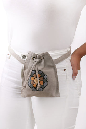 Waist Bag with Hand-Embroidery in Warm Grey