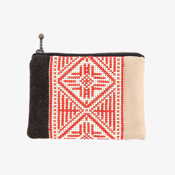 Coin Case in Taupe & Red