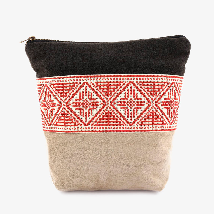 Pouch in Taupe & Red