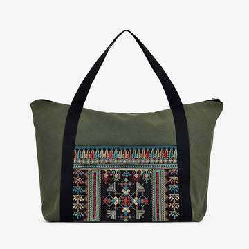 Travel Bag in Khaki, Crafted by Syrian Refugees, Handmade Accessory, Tribalogy