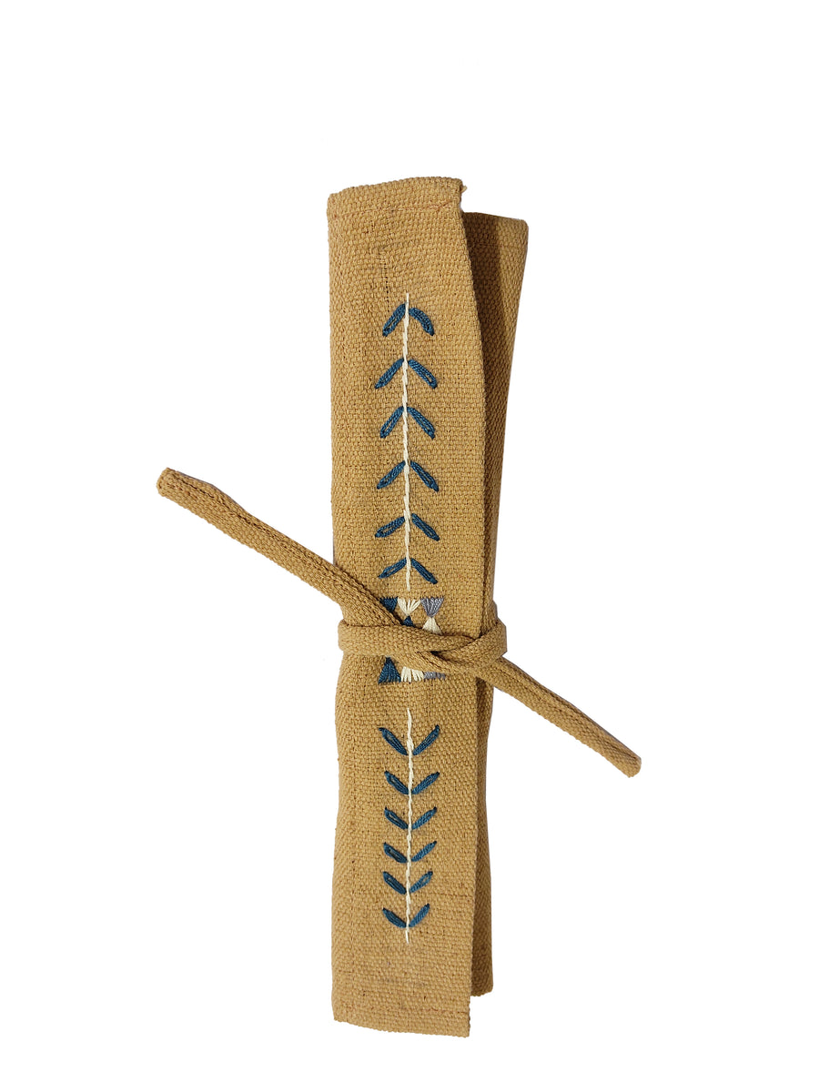 Wooden Cutlery Set with Embroidered Wrap, Crafted by Myanmarese Refugees, Handcrafted Homewares, WEAVE