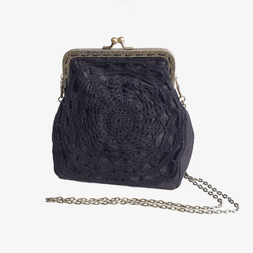 Victorian Bag in Black, Crafted by Afghan Refugees, Crocheted Bag, Archisha