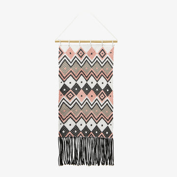 Wall Hanging in Coral & Grey, Crafted by South Sudanese Refugees, Handcrafted Homewares , Roots