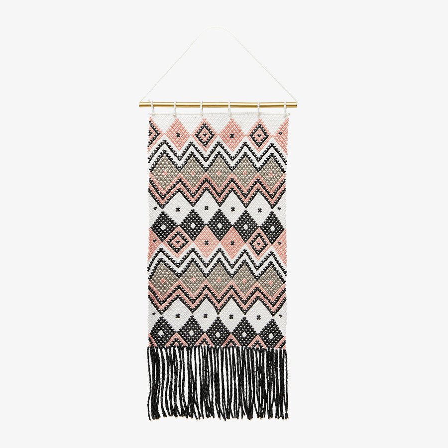 Wall Hanging in Coral & Grey