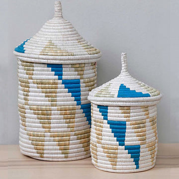 Kitwaro Basket in Blue, Crafted by Syrian Refugees, Handweaved Homewares, Womencraft