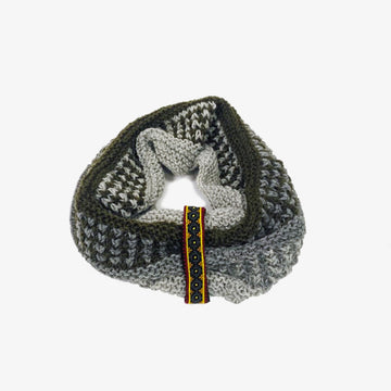 Wool Infinity Scarf in White, Grey and Black