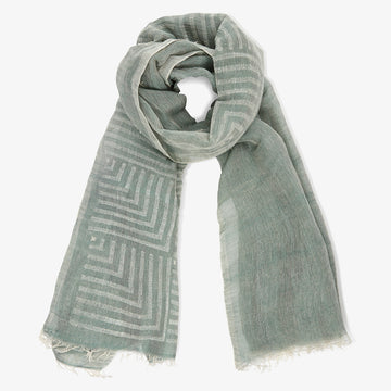 Olive Green Block Printed Scarf