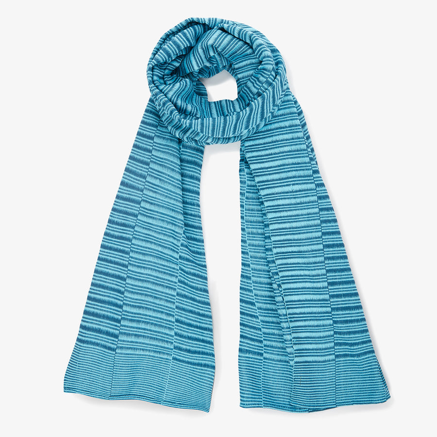 Boe Meh Scarf in Sky, Crafted by Myanmarese Refugees, Handloomed Scarf, WEAVE