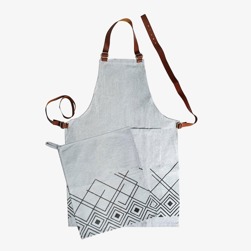 Apron with Leather Straps in Light Grey