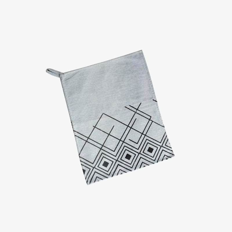 Light Grey Tea Towel, Crafted by Refugees from Syria, Sudan, South Sudan and Ethiopia, Silk-screened Printed Accessory, Yadawee