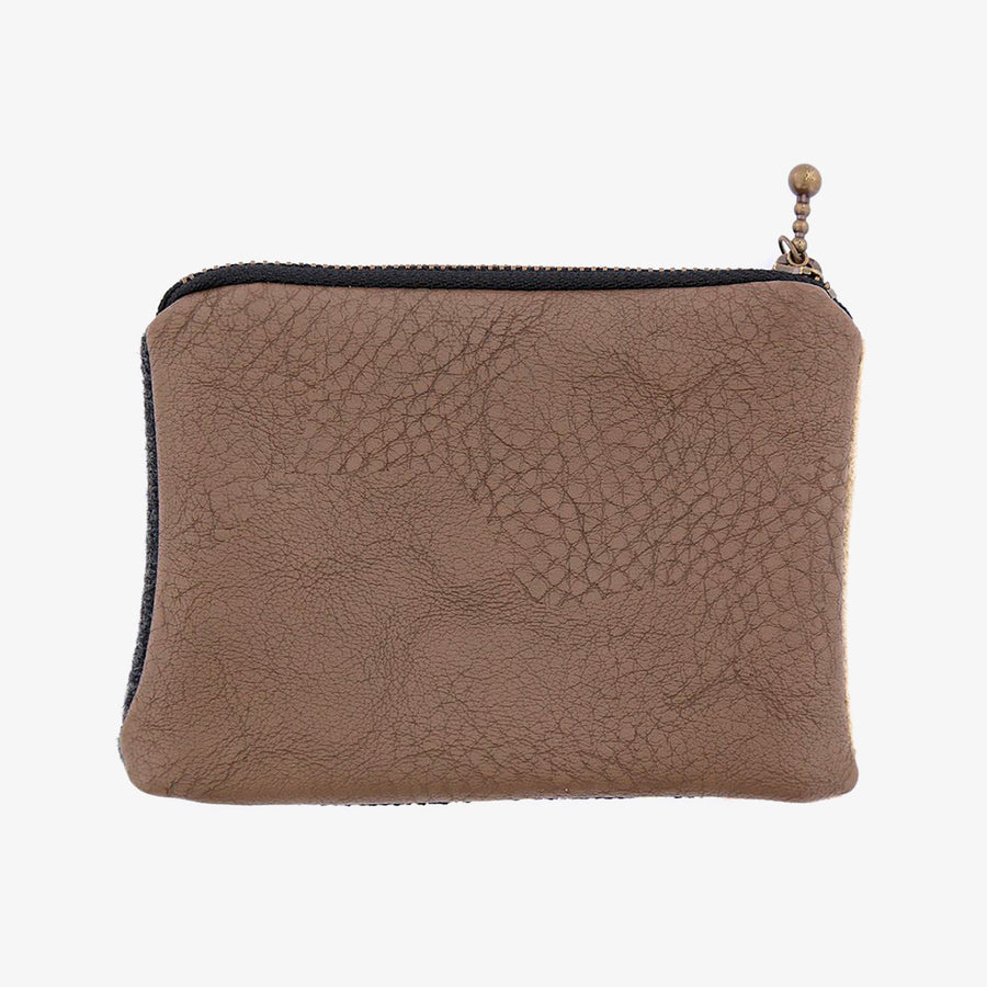 Coin Case in Taupe & Grey