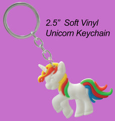"Photo of 2.5"" Unicorn Keychain (soft vinyl)"