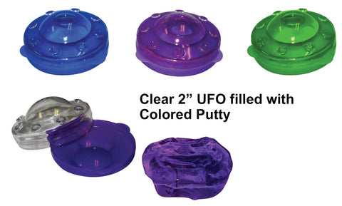 "2"" UFO Putty (clear UFO filled with coloured putty)"
