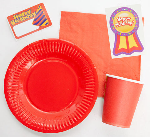 "Red 7"" Plate, Napkin, Cup and Cutlery Set"