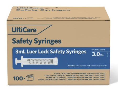 Ultimed UltiCare General Purpose Syringe 3 mL Individual Pack Luer Lock Tip Retractable Safety - 63014