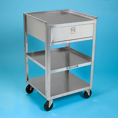 "Stainless Steel Utility Cart with Drawer - 18-3/4""W x 30-1/8""H x 16-3/4""D"