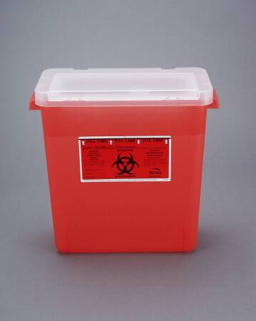 Bemis Healthcare Bemis Sentinel Phlebotomy Sharps Container Nestable 13-1/2 H X 13-7/8 L X 6-7/8 W 3 Gallon Translucent Red Base / White Lid Vertical Entry Lid - 303030