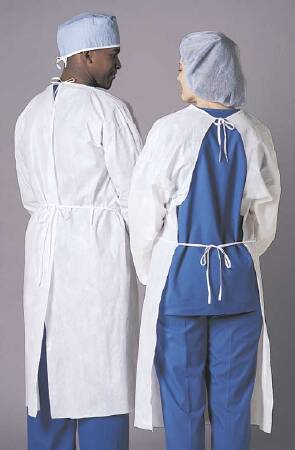 Busse Hospital Disposables Patient Exam Gown One Size Fits Most Adult NonSterile White - 199