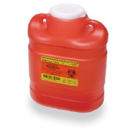 Becton Dickinson Sharps Container 1-Piece 11-1/2 H X 8-3/4 W X 5-1/2 D Inch 6.9 Quart Red Funnel Lid - 305489