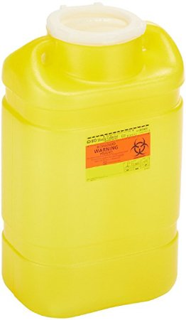 Becton Dickinson Chemotherapy Sharps Container 2-Piece 14 H X 7-1/2 W X 10-1/2 D Inch 5 Gallon Yellow Snap On Lid - 305493