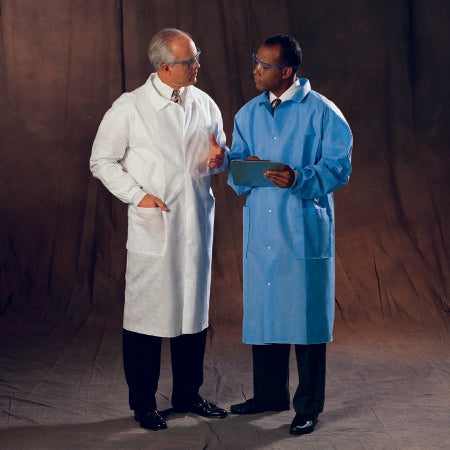 O&M Halyard Inc Lab Coat Blue Large Long Sleeves Knee Length - 10047