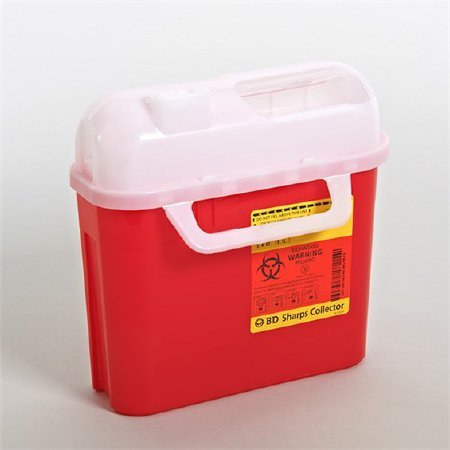 Becton Dickinson Sharps Container 1-Piece 10-3/4 H X 10-3/4 W X 4D Inch 5 Quart Red Horizontal Entry Lid - 305443