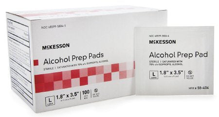 McKesson McKesson Alcohol Prep Pad Isopropyl Alcohol, 70% Isopropyl Alcohol, 70% Individual Packet Large , 1.8 X 3.5 Inch Sterile - 58-404