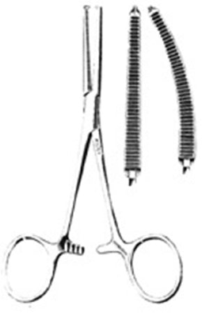 Miltex Miltex Hemostatic Forceps Kocher 5-1/2 Inch OR Grade Stainless Steel (German) NonSterile Ratchet Lock Finger Ring Handle Straight Serrated Tips w/1 X 2 Teeth - 24289