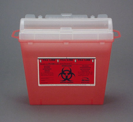 Bemis Healthcare Bemis Sentinel Sharps Container 1-Piece 10 H X 11 L X 5-1/4 W Inch 5 Quart Translucent Red Horizontal Entry Lid - 175030