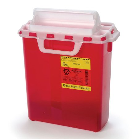 Becton Dickinson Sharps Container 1-Piece 16 H X 13-1/2 W X 6 D Inch 3 Gallon Red Horizontal Entry Lid - 305436