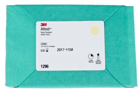 3M Attest Rapid Readout Sterilization Biological Indicator Pack Steam - 1296F