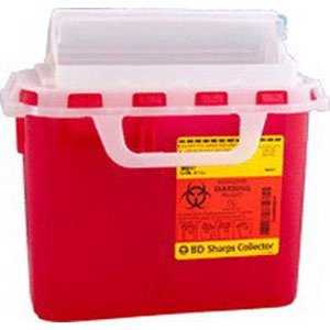 Becton Dickinson Sharps Container 1-Piece 10-3/4 H X 10-3/4 W X 4D Inch 5.4 Quart Red Horizontal Entry Lid - 305426