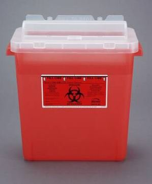 Bemis Healthcare Bemis Sentinel Sharps Container 1-Piece 15 H X 13-7/8 L X 6-7/8 W Inch 3 Gallon Translucent Red Horizontal Entry Rotating Cylinder Lid - 333030