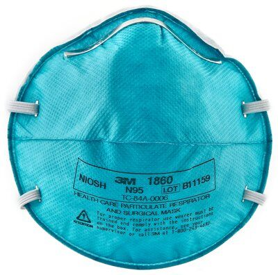 3M 1860 N95 Particulate Respirator / Surgical Mask Earloops - Box of 20 Masks