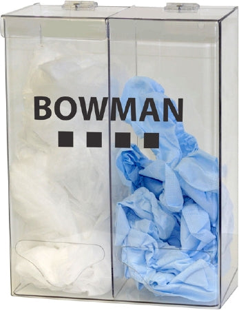 Bowman Manufacturing Bowman PPE Dispenser BOWMAN Clear PETG Plastic Manual Double Bin Wall Mount - BP-012-DISP