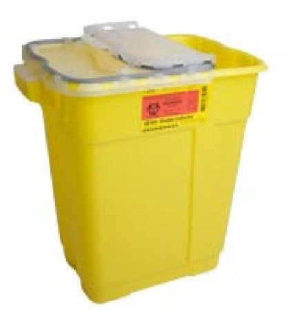Becton Dickinson Chemotherapy Sharps Container 2-Piece 18-1/2 H X 17-3/4 W X 11-3/4 D Inch 9 Gallon Yellow Hinged Lid - 305603