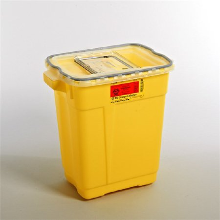 Becton Dickinson Chemotherapy Sharps Container 2-Piece 18-1/2 H X 17-3/4 W X 11-3/4 D Inch 9 Gallon Yellow Sliding Lid - 305604