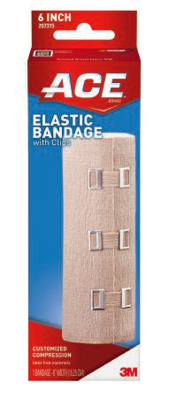 3M ACE Elastic Bandage 6 Inch X 4-1/2 Foot Standard Compression Clip Detached Closure Tan NonSterile - 207315