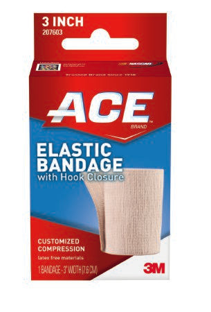 3M ACE Elastic Bandage 3 Inch X 5 Yard Standard Compression Single Hook and Loop Closure Tan NonSterile - 207603