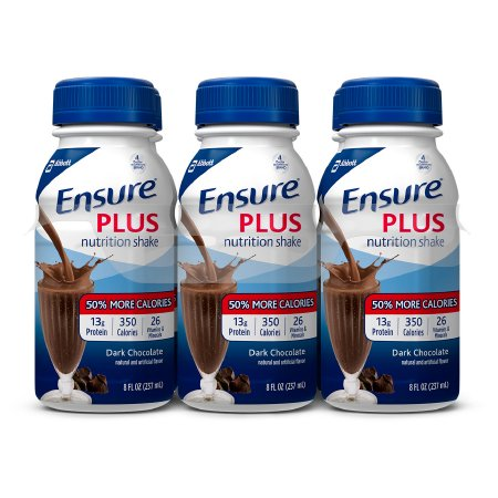 Abbott Nutrition Ensure Plus Oral Supplement Dark Chocolate Flavor 8 oz. Bottle Ready to Use - 53809