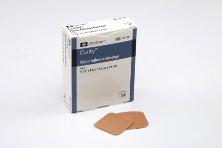 Cardinal Curity Adhesive Spot Bandage 1-1/2 Inch Plastic Square Tan Sterile - 44116