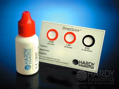 Hardy Diagnostics StrepQuick Rapid Test Kit Microbial Identification Pyroglutamate Aminopeptidase (PYR) / Leucine Aminopeptidase (LAP) / Esculinase (ESC) Culture Sample Non-CLIA Waived 25 Tests - Z122