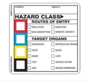 Medical Safety Systems WorkSafe Pre-Printed Label Warning Label Hazzard Class w/ Instructions White 2 X 2 Inch - 510-51020100