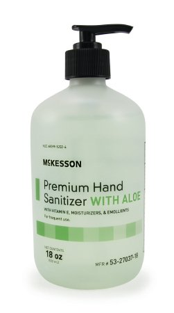 McKesson McKesson Premium Hand Sanitizer with Aloe 18 oz. Ethyl Alcohol Gel Pump Bottle - 53-27037-18