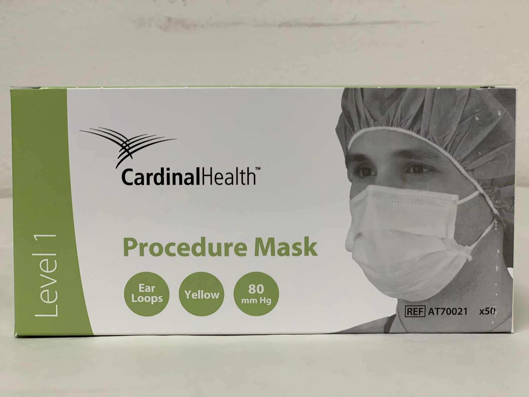 Cardinal AT70021 Secure-Gard Earloop Procedure Mask Pleated One Size Fits Most Yellow - Box of 50 Masks