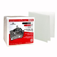 Georgia Pacific Brawny Industrial Task Wipe Medium Duty White NonSterile Airlaid Bonded Cellulose 13 X 13 Inch Reusable - 29215