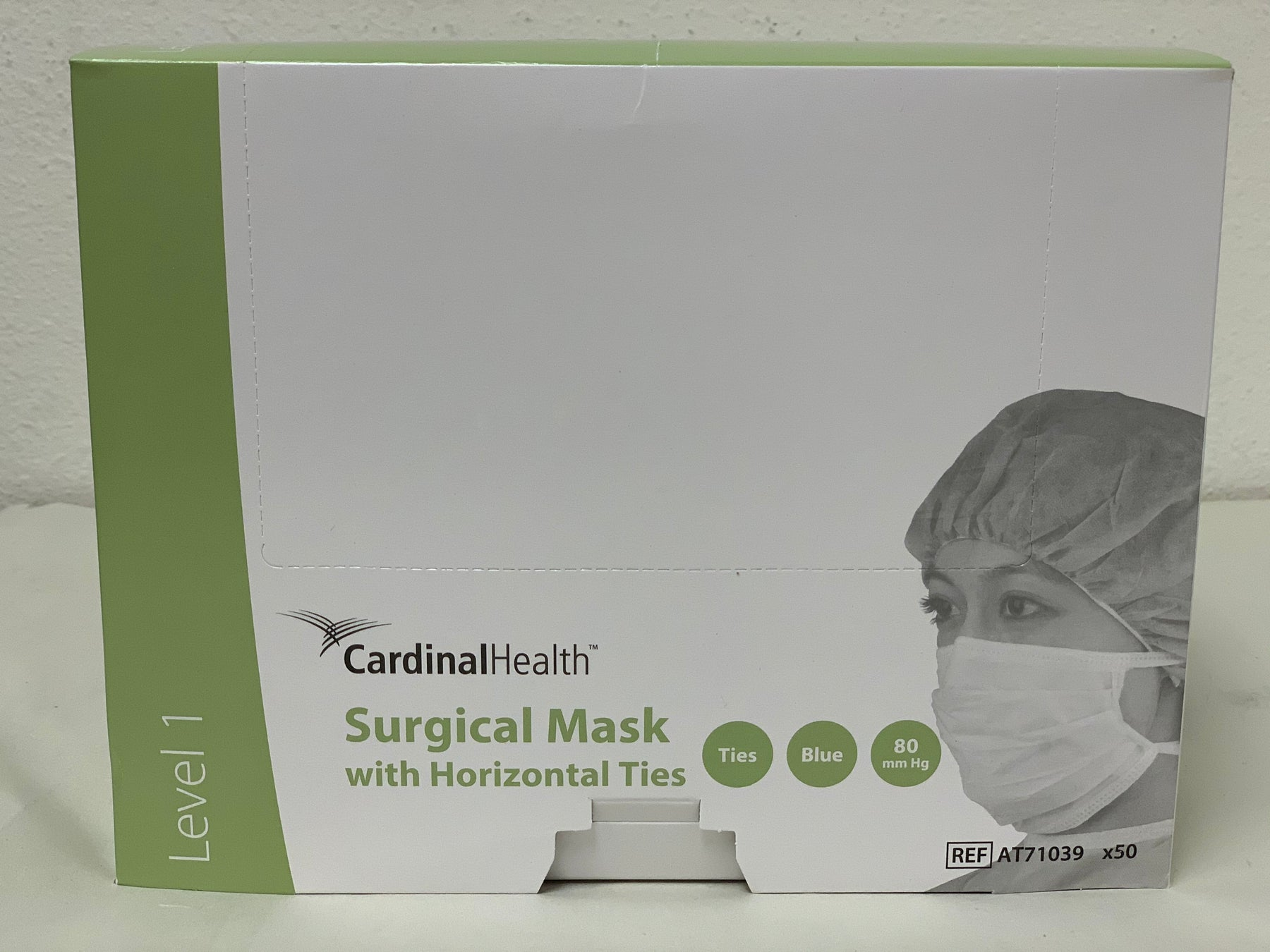 Cardinal Health AT71039 - Surgical Mask with Horizontal Ties Blue - Box of 50 Masks