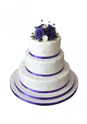 Hearted Violet Wedding Cake