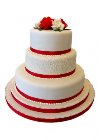 White and Red Rose Wedding Cake